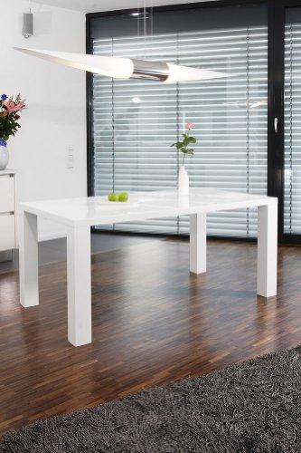 Ess-Tisch weiß Hochglanz aus MDF 120x80cm recht-eckig | Luca | Moderner Küchen-Tisch aus MDF-Holz weiss | Vierfußtisch…