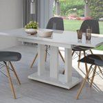 madera Esstisch Hochglanz Weiss ausziehbar 140cm - 190cm erweiterbar Küchentisch Auszugtisch Säulentisch