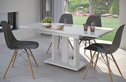 Esstisch Hochglanz Weiss ausziehbar 140cm - 190cm erweiterbar Küchentisch Auszugtisch Säulentisch