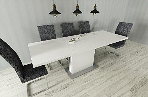 madera Esstisch Küchentisch ausziehbar 130-210 Weiss Hochglanz erweiterbar Säulentisch