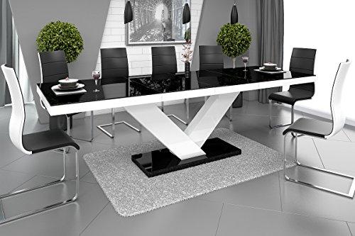 Furniture24 Design Esstisch Victoria ausziehbar 160-256 cm Hochglanz Acryl Tisch Küchentisch (Schwarz Hochglanz/Weiß…