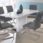 Esstisch in weiß Hochglanz, ausziehbarer Esszimmertisch, 120-160 cm breit und 80 cm tief, Küchentisch rechteckig und modern