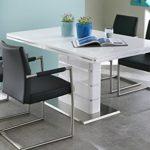 Esstisch in weiß Hochglanz, ausziehbarer Esszimmertisch mit Synchronauszug, 160-200 cm breit und 90 cm tief, Küchentisch rechteckig und modern