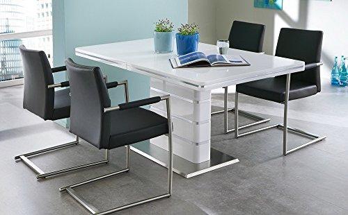 Esstisch in weiß Hochglanz, ausziehbarer Esszimmertisch mit Synchronauszug, 160-200 cm breit und 90 cm tief, Küchentisch…