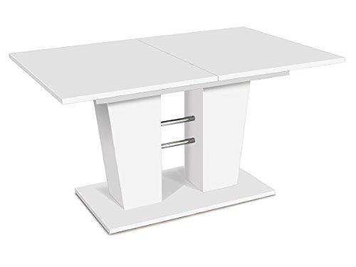 möbelando Esszimmertisch Esstisch Auszugstisch Ausziehtisch Tisch Esszimmer Bomuli I (Weiß)