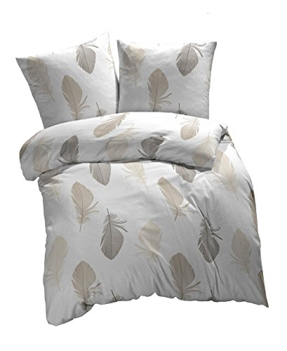 Etérea 2 tlg Renforcé Baumwolle Bettwäsche Federn Weiß Braun Grau, 135x200 cm + 80x80 cm
