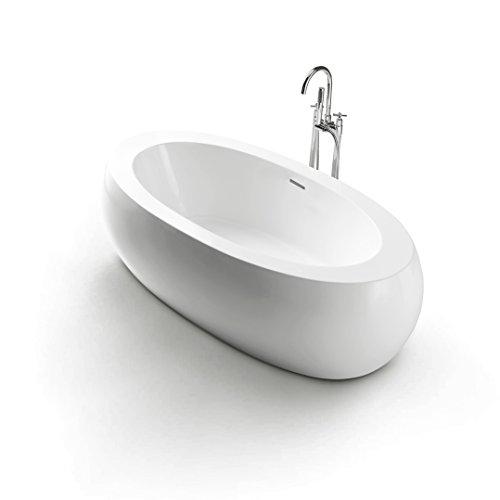 Exclusive Freistehende Badewanne 189x93 cm aus Sanitäracryl mit Ab.- und Überlauf