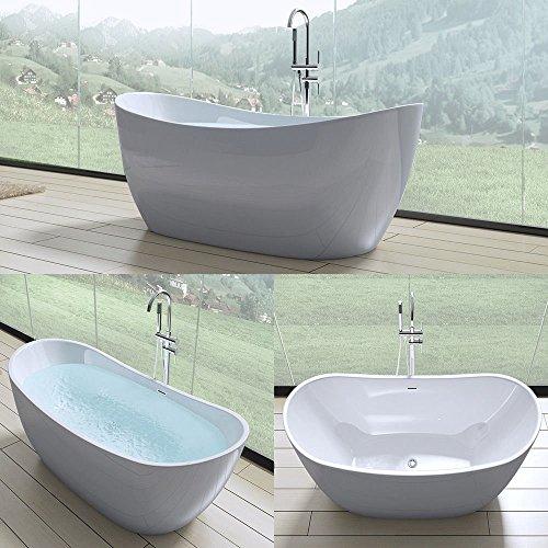 doporro Freistehende Design-Badewanne Vicenza502 180x80x60cm mit Ablaufgarnitur und Überlauf aus Acryl in Weiß und DIN…