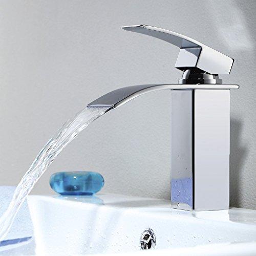 Fandaucy Wasserfall Wasserhahn Bad Armatur Waschbecken Mischbatterie Chrom Einhebelmischer Wasserauslauf…