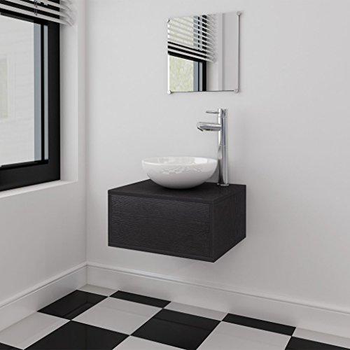 Festnight 3-tlg. Badezimmermöbel-Set Badmöbel Set inkl. Waschbeckenschrank Spiegel Waschbecken Schwarz