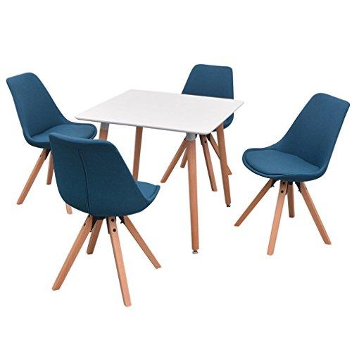 Festnight 5-teilige Set Essgruppe inkl. 1 Tisch und 4 Esszimmerstühle Esstisch Essstuhl Küchengruppe Sitzkomfort Retro Esszimmergarnitur - Weiß und Blau