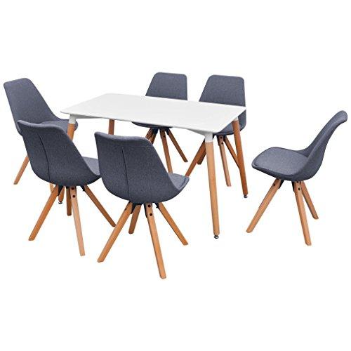 Festnight 7-teilige Set Essgruppe inkl. 1 Esstisch und 6 Esszimmerstühle Küchen-Set Sitzgruppe Retro-Chic Esszimmergarnitur - Weiß und Hellgrau