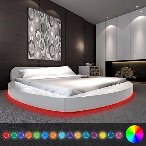 Festnight Polsterbett Bett Doppelbett Ehebett mit LED aus Kunstleder ohne Matratze 180 x 200 cm Rund Weiß