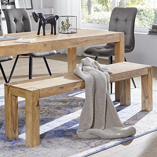 FineBuy Esszimmer Sitzbank Massiv-Holz Akazie 140 x 45 x 35 cm Design Holz-Bank Natur-Produkt Küchenbank Landhaus-Stil dunkel-braun Bank 3-Sitzer für innen ohne Rücken-Lehne Echt-Holz unbehandelt