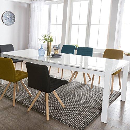 FineBuy Esszimmertisch GLOSS Ausziehbar 140 - 230 cm Esstisch Hochglanz Weiß | Esstisch für 6 - 10 Personen | Design Küchentisch Rechteckig Tisch