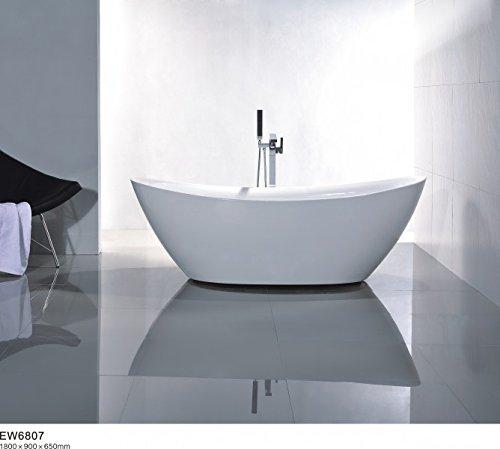 Bernstein Badshop Freistehende Badewanne Acryl BELLAGIO Standbadewanne oval weiß - 180 x 86 cm - inkl. Standarmatur 8028