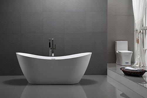 Bernstein Badshop Freistehende Badewanne Sanitär-Acryl VIENA Standbadewanne weiß oval- 180 x 80 cm