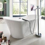 Freistehende Badewanne weiß Jena Modern Acrylbadewanne 180x80cm (mit Geruchsverschluss (Flachsiphon))