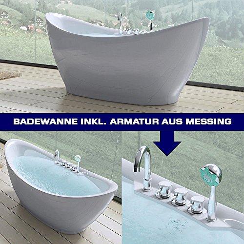 doporro Freistehende Design-Badewanne Vicenza603 180x80x80cm komplett mit Ablaufgarnitur inkl. Armaturen und Überlauf…