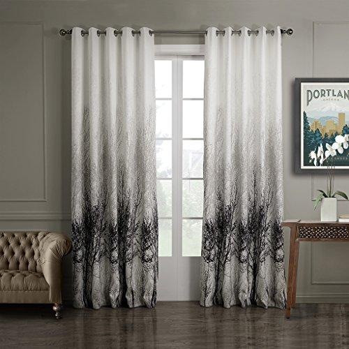 GWELL Elegant Baumblatt Druck Vorhang Blickdicht Schal mit Ösen TOP QUALITÄT Gardine für Wohnzimmer Schlafzimmer grau cream 1er-Pack