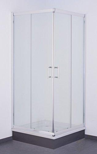 Galdem Duschabtrennung Economy 5 mm Duschkabine Dusche Echtglas Sicherheitsglas Bad Badezimmer (100 x 100 x 190 cm Eckig)