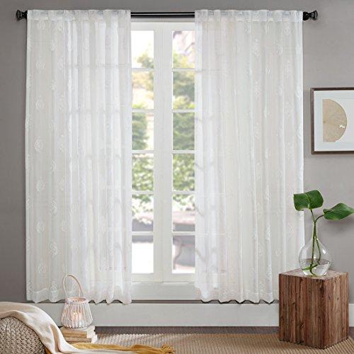 Gardine Schals Voile Aria Vorhänge mit versteckten Schlaufen & edel Stickerei Wohnzimmer Modern, Offwhite (2er-Set, je…