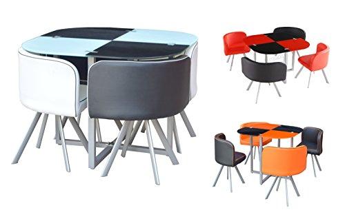 Platzsparender Glastisch mit 4Stühlen, im Retro-Look, zweifarbig, orange/schwarz, rot/schwarz schwarz/red