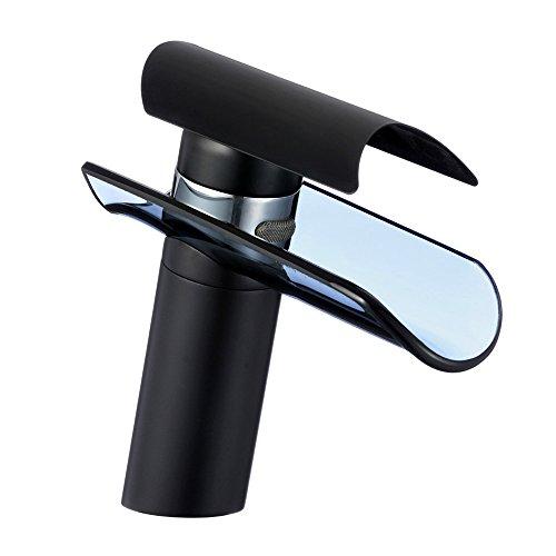 Glas Wasserfall Badarmatur schwarz lackiert | Bad Wasserhahn Waschtischarmatur