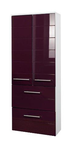 Held Möbel 231.2085 Rimini Midischrank 2-türig, 2 Schubkästen, 2 Einlegeböden, 50 x 130 x 27 cm, hochglanz aubergine/weiß