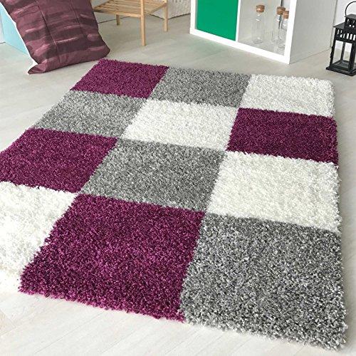 mynes Home Hochflor Shaggy Teppich kariert in versch. Farben und Größen Langflor Teppiche für Wohnzimmer und Jugendzimmer. (60 x 110 cm, Violett)