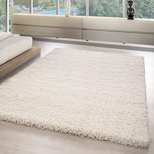 Teppich hochflor Shaggy Teppich modern einfarbig langflor Wohnzimmer teppiche, Maße:60 cm x 110 cm, Farbe:Ivory