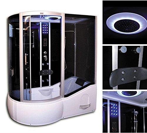 Home Deluxe - Duschtempel - All IN 2in1 schwarz Links - Maße: 170 x 90 x 220 cm - inkl. komplettem Zubehör