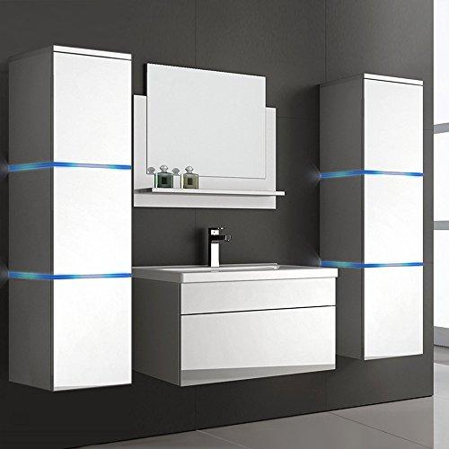 Home Deluxe Badmöbel-Set | Cuxhaven | Weiß | Hochglanz | inkl. Waschbecken und komplettem Zubehör