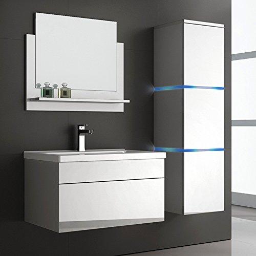 Home Deluxe Badmöbel-Set | Wangerooge Weiß | L | inkl. Waschbecken und komplettem Zubehör | Verschiedene Größen