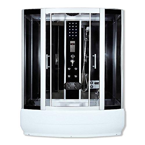 Home Deluxe - Duschtempel mit Regendusche und Handbrause - Diamond schwarz - Maße: 170 x 90 x 220 cm | Dampfsauna, Badewanne, Whirlpool, Dusche