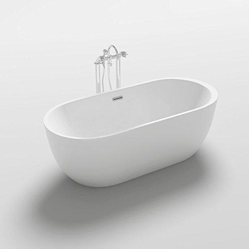 Home Deluxe - freistehende Badewanne - Design Badewanne freistehend Codo weiß - Maße: ca. 170 x 80 x 58 cm - Füllmenge: 204 Liter - Inkl. komplettem Zubehör
