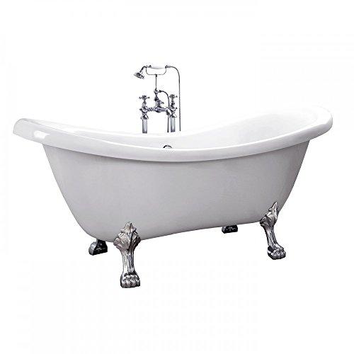 Home Deluxe - freistehende Badewanne - Design Badewanne mit Füßen FAMA weiß - Maße: ca. 176 x 74 x 79 cm - Füllmenge: 204 Liter - Inkl. komplettem Zubehör