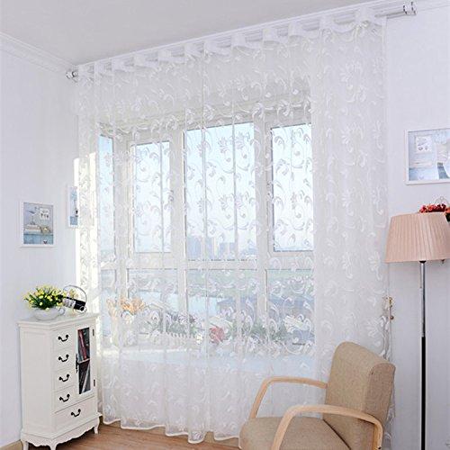 Home Hotel Fenster Screening Tüll Blume Modern Vorhänge für Wohnzimmer Sheer Vorhang White 100 * 250cm