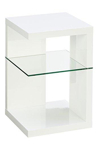 HomeTrends4You 516250 Beistelltisch / Nachttisch Domingo, Weiß Hochglanz, 40x40cm, Höhe 60cm