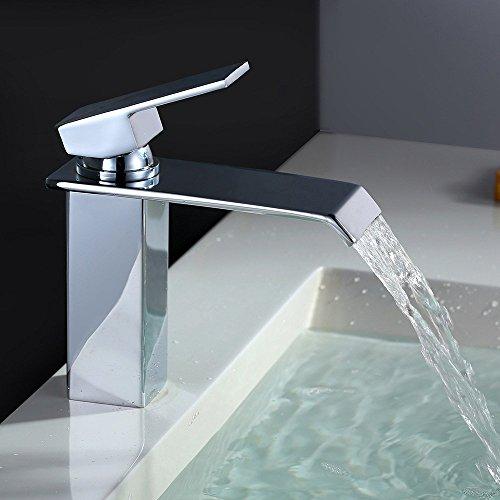 Homelody Chrom Waschtischarmatur Bad Wasserfall Wasserhahn Badarmatur Waschbeckenarmatur Einhebelmischer…