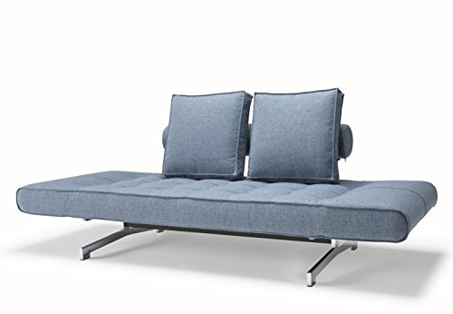 Innovation Schlafsofa mit Chrombeinen Ghia Textil hellblau