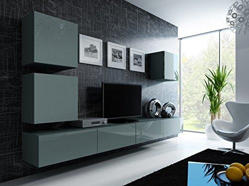 Jadella Wohnwand ' Vigo 22' Hochglanz Hängeschrank Lowboard Cube, Farbe:Grau Matt/Grau Hochglanz
