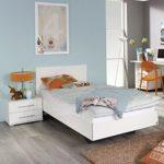 Jugendbett inkl.1 Nachtkommode 90*200 cm Hochglanz weiß Jugendliege Kinderbett Bettliege Bettgestell Bett Jugendzimmer Schlafzimmer