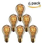 KINGSO 6 x Edison Vintage Glühbirne, E27 40W A19 Dekorative Glühlampe, Warmweiß Dimmbar Squirrel Cage Filament Kohlefadenlampe oder Deckenleuchte Ideal für Nostalgie und Retro Beleuchtung