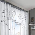 KOU-DECO Fenstervorhang hochwertige transparente Voile Kräuselband Gardinen mit Stickerei, 1er Pack (140x245cm, grau)