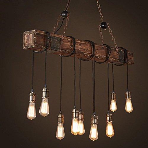 Kronleuchter Pendelleuchte Retro Industrial Vintage Holz Metall Höhenverstellbar E27*10 Hängelampe/Hängeleuchte (10-flammig)