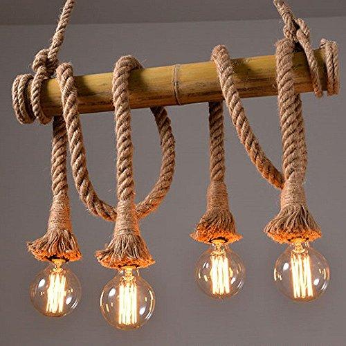 Kronleuchter Retro Hemp Seil Hängeleuchte Industrielle Pendelleuchte Leuchte Vintage 3 / 4 / 5 / 6 Flamming Edison Light Hanfseil und Bamboo Pendelleuchten Küchenleuchte Esstisch fur Wohnzimmer Esszimmer bar (Leuchtmittel nicht enthalten) (4 Lamp)