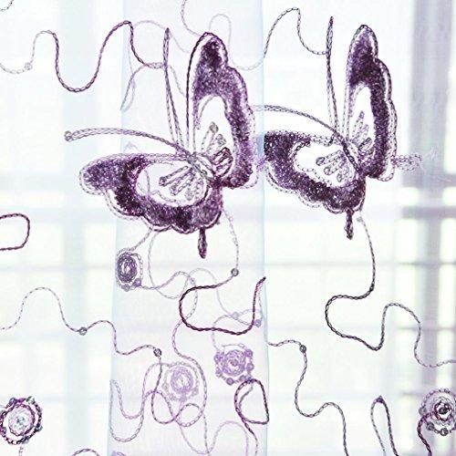 LCLrute Vorhang 200cm x 100cm Schmetterling Vorhang Tüll Fenster Behandlung Voile Drape Valance 1 Panel Fabric (Lila)