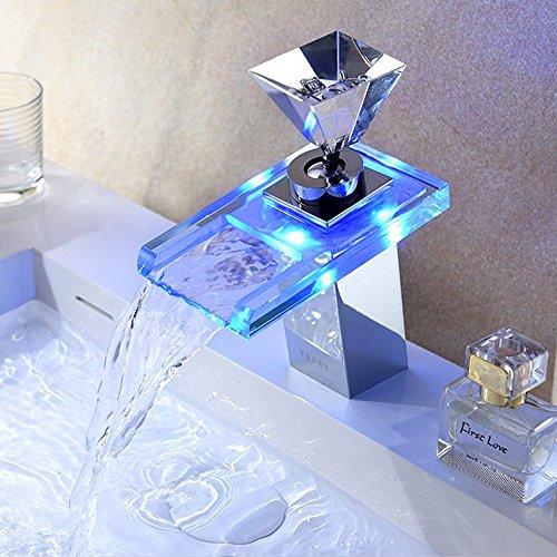 LED Armatur Derpras LED RGB Wasserfall Wasserfall Einhebelmischer Waschtisch Mischbatterie Badarmatur und Waschtischbatterie Waschbeckenarmatur mit Glas in 3 Farben
