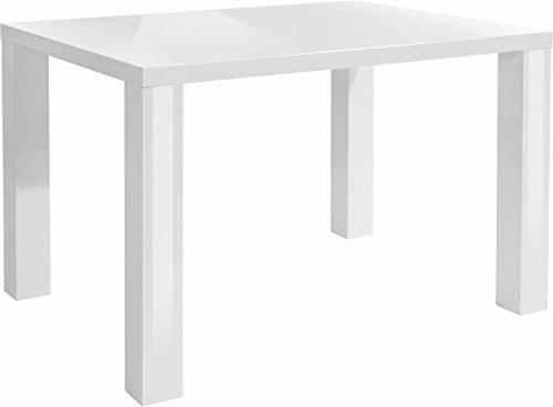 LifeStyleDesign 58700102 Tisch Imola 75 x 90 x 120 cm, MDF komplett, Hochglanz weiß lackiert